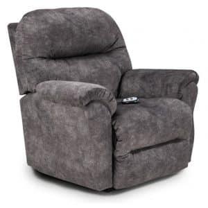 Bodie Recliner with Power recline in dark soft fabric
