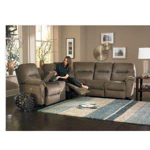 Bodie Recliner sectional in room setting with console storage