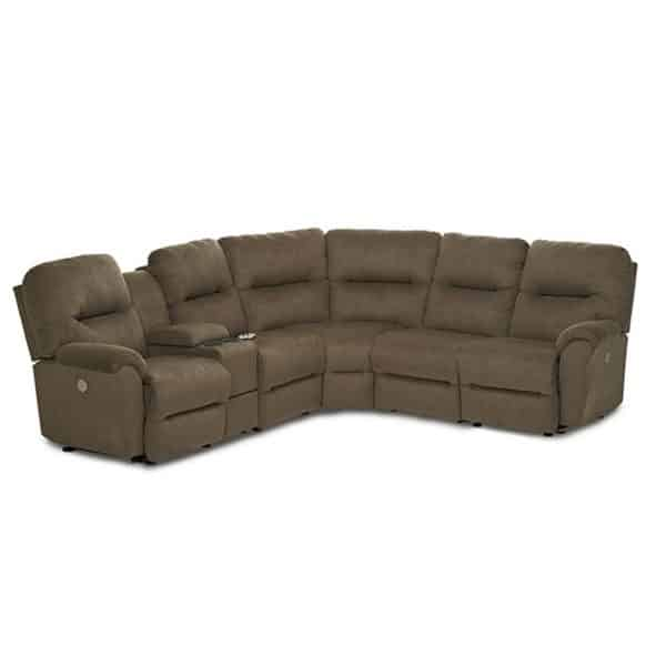 bodie reclining sectional in modern beige fabric with power recline feature