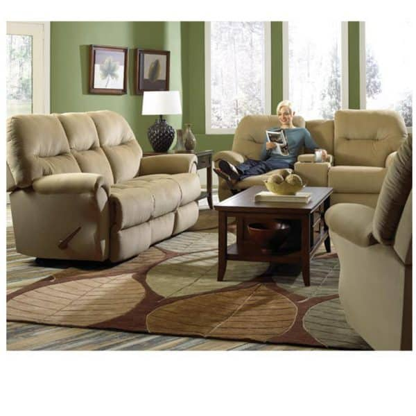 bodie recliner sofa in room setting with person reclined in love seat