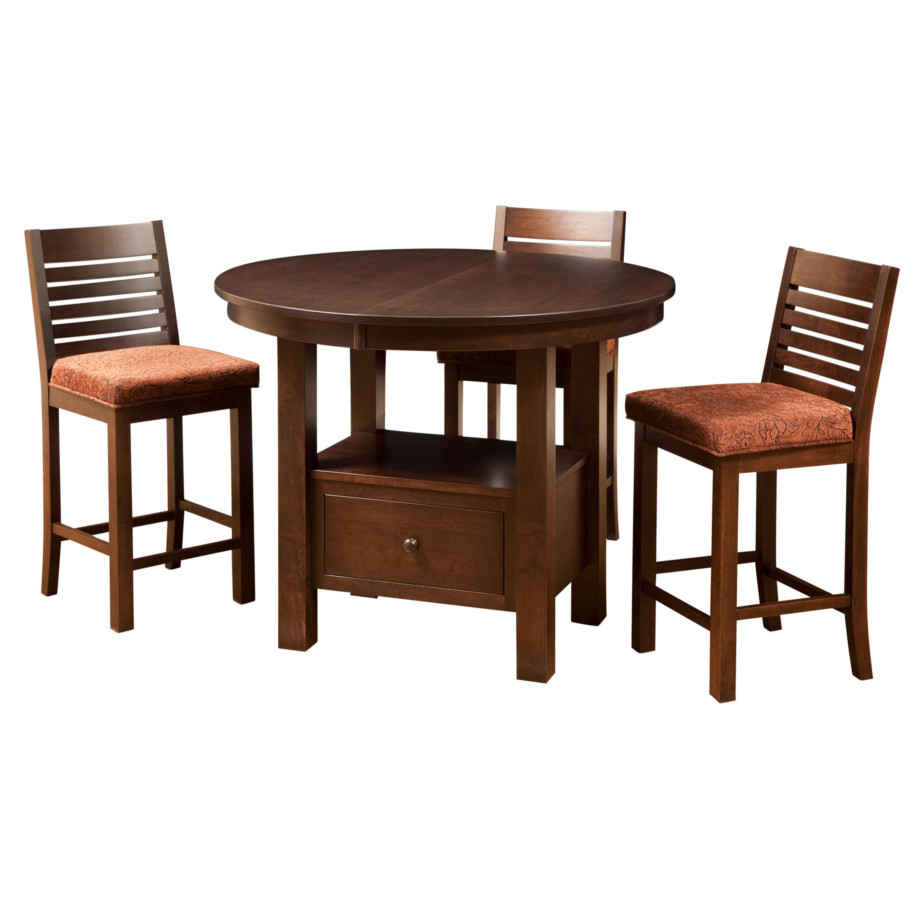 Cafe gathering table round home envy furnishings solid for Dining room tables canada