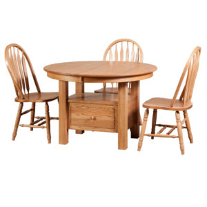 cafe round table, Dining room, dining room furniture, solid wood, solid oak, solid maple, custom, custom furniture, dining table, dining chair, made in Canada, Canadian made