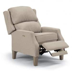 traditional pauley recliner with power recline feature in custom fabric