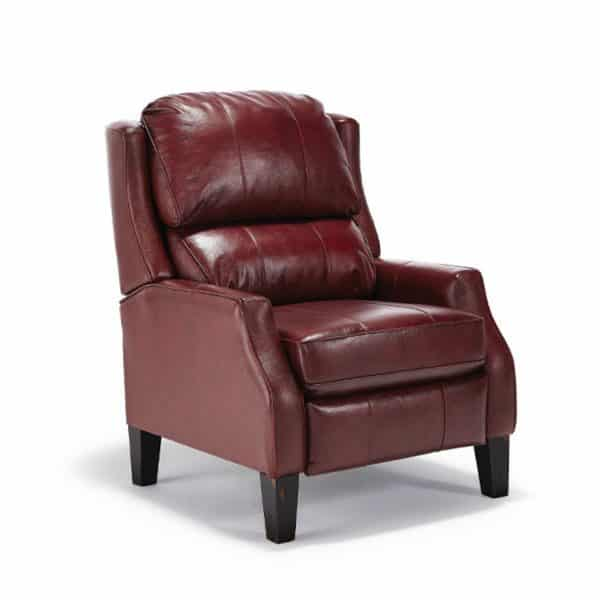 top grain leather pauley power recliner in traditional red leather