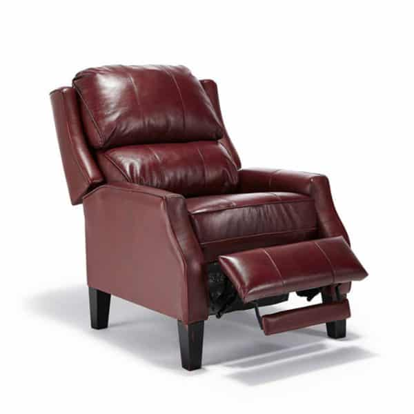 pauley recliner with back reclined in top grain leather option