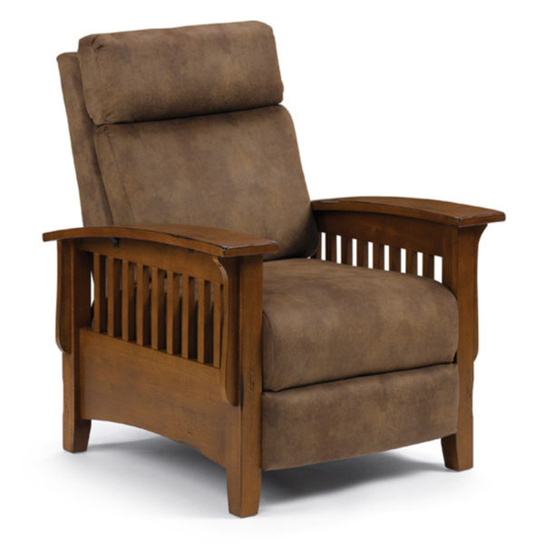wood arm tuscan mission recliner in modern custom fabric