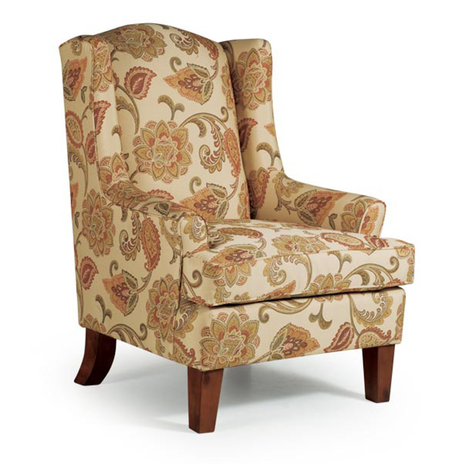 best home furnishings, accent chair, sitting chair, upholstered, custom chair, wood frame, andrea wing chair, classic chair, traditional chair,