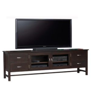 brooklyn 84 tv console, living room, living room furniture, console, tv console, tv, hdtv, storage, storage ideas, solid wood, made in Canada, Canadian made, maple, oak, cherry, solid maple, heritage maple, solid oak, solid cherry, rustic, rustic design, drawer, drawers, shelves, storage solutions, custom, custom furniture, entertainment