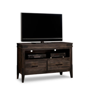 chattanooga 48 tv console, living room, living room furniture, console, tv console, tv, hdtv, storage, storage ideas, solid wood, made in Canada, Canadian made, maple, oak, cherry, solid maple, heritage maple, solid oak, solid cherry, rustic, rustic design, drawer, drawers, shelves, storage solutions, custom, custom furniture, entertainment