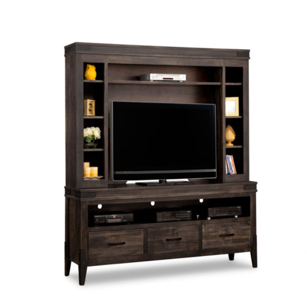 hand crafted in canada custom built chattanooga solid wood tv media wall unit