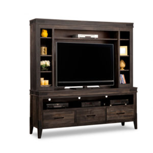 solid rustic wood and metal chattanooga tv media wall unit by handstone