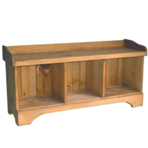 natural rustic pine wood cubby bench for entry way hall