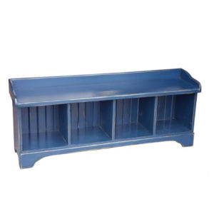 solid rustic pine canadian made cubby bench in rustic painted finish