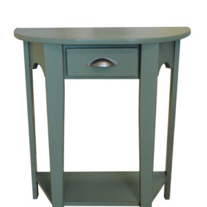 solid rustic wood with painted finish demi lune table with curved front