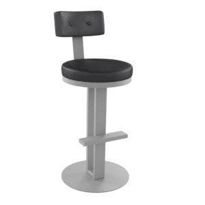 modern pole style empire counter stool with custom fabric seat