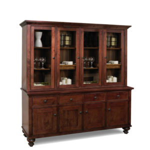 georgetown 4 door buffet and hutch, Dining room, dining room furniture, occasional, occasional furniture, solid wood, solid oak, solid maple, custom, custom furniture, storage, storage ideas, dining cabinet, sideboard, made in canada, Canadian made, solid cherry, cherry, maple, oak, heritage maple, display cabinet, china cabinet, hutch
