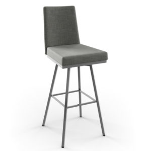 linea upholstered stool, bar height stool, bar height, counter height, counter height stool, custom furniture, made in canada, canadian made, solid wood, kitchen, dining room, kitchen furniture, dining room furniture, metal, custom, customizable, swivel stool