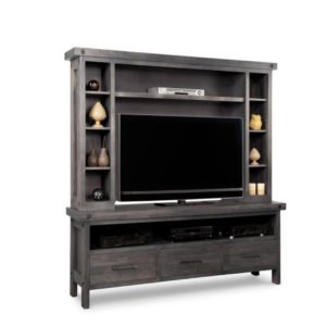 Rafters 74 wall unit, living room, living room furniture, console, tv console, wall unit, tv, hdtv, storage, storage ideas, solid wood, made in Canada, Canadian made, maple, oak, cherry, solid maple, heritage maple, solid oak, solid cherry, rustic, rustic design, drawer, drawers, shelves, storage solutions, custom, custom furniture