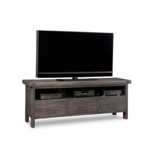 made in canada handstone rafters tv console with industrial elements