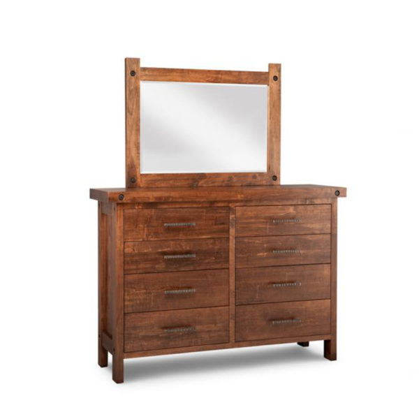 rafters dresser, Heritage maple, solid maple, solid wood, solid oak, end table, mirror, occasional furniture, rustic details, storage, drawer, organization, custom furniture, made in Canada, Canadian made, rustic furniture, chairside table, living room, living room furniture, dresser, bedroom furniture, storage, storage ideas, clothing