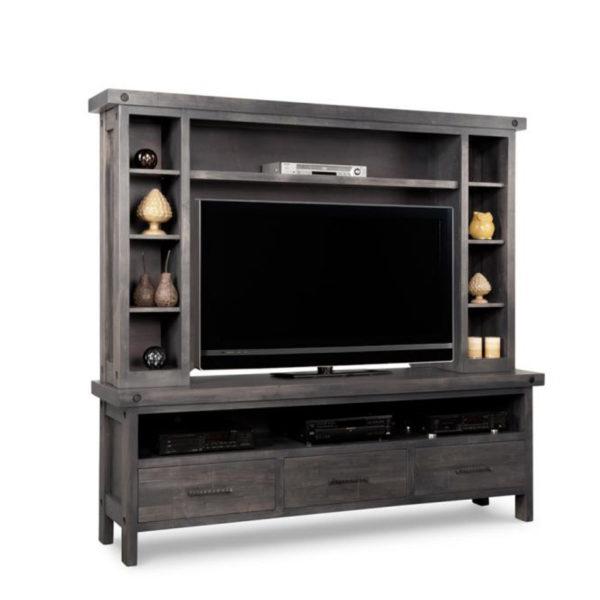 canadian amde solid rustic wood rafters handstone tv wall unit