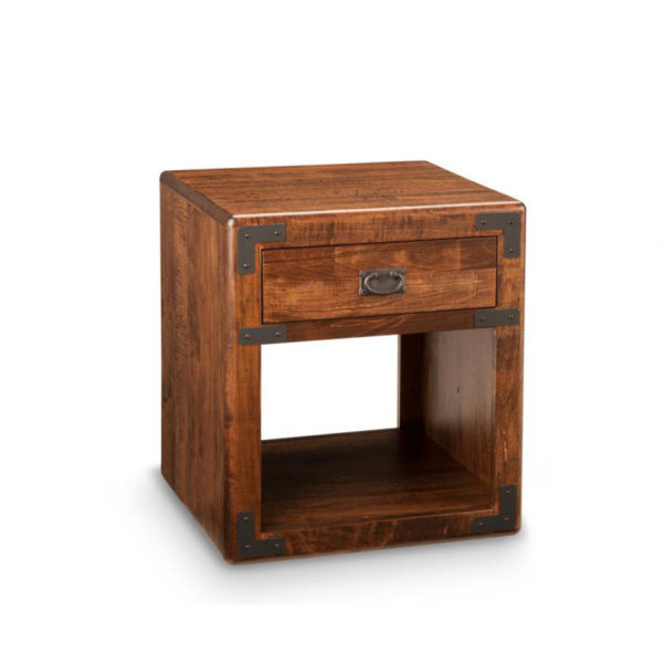 saratoga end table, living room, living room furniture, rustic maple, heritage maple, solid maple, solid oak, solid wood, made in canada, canadian made, custom furniture, customizable, storage ideas, storage, drawers, occasional, occasional furniture, end table