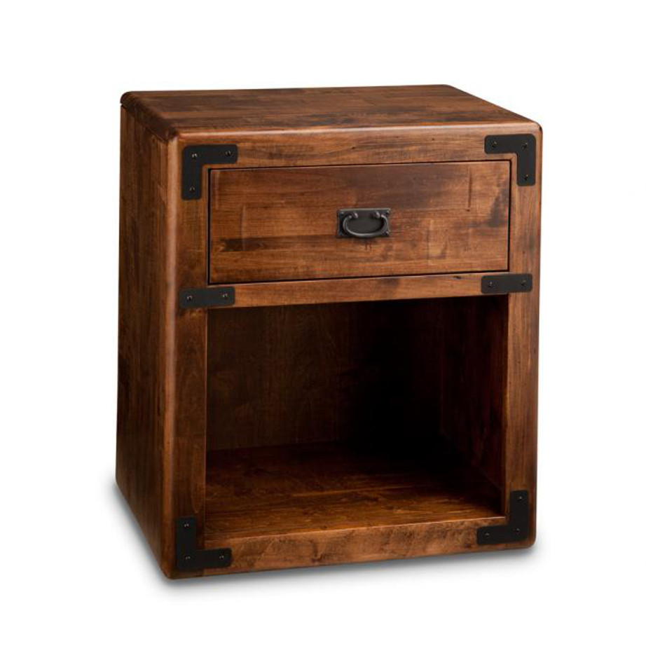 Heritage maple, solid maple, solid wood, solid oak, end table, occasional furniture, rustic details, storage, drawer, organization, custom furniture, made in Canada, Canadian made, rustic furniture, chairside table, living room, living room furniture