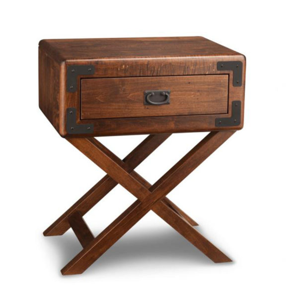Saratoga x base night stand, Heritage maple, solid maple, solid wood, solid oak, end table, occasional furniture, rustic details, storage, drawer, organization, custom furniture, made in Canada, Canadian made, rustic furniture, chairside table, living room, living room furniture