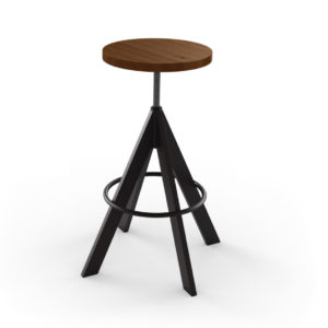 uplift backless stool, bar height stool, bar height, counter height, counter height stool, custom furniture, made in canada, canadian made, solid wood, kitchen, dining room, kitchen furniture, dining room furniture, metal, custom, customizable, swivel stool, backless, backless stool