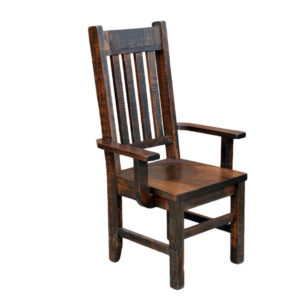 benchmark arm chair, Dining room, solid wood, maple, rustic maple, made in Canada, dining chair, custom, custom furniture, benchmark