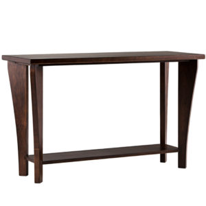 solid woo custom built canterbury sofa table with curved legs
