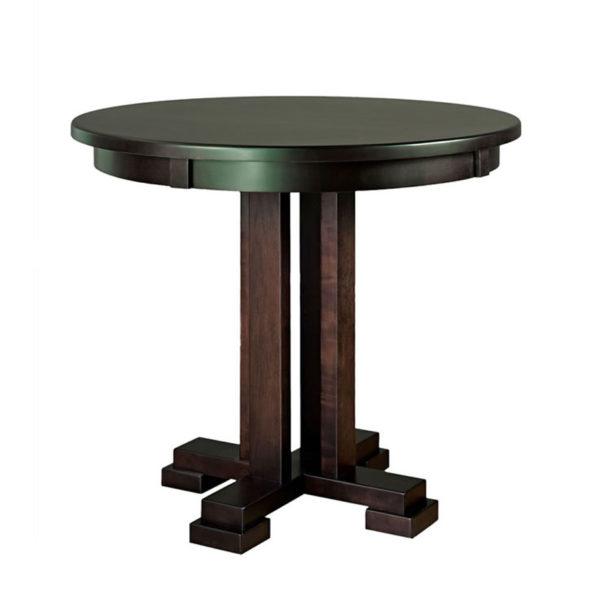 carolina round pub table, dining room, dining table, custom, custom furniture, custom built, solid wood, wood, solid maple, solid oak, maple, oak, extendable table, pedestal, pedestal table, round table, oval table
