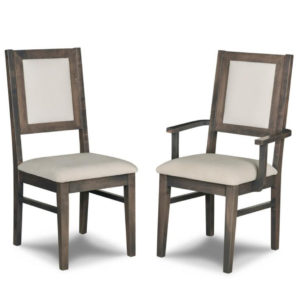wood and fabric combination contempo dining chair with arm chair option