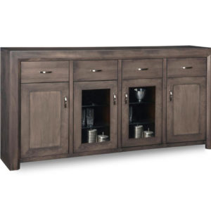 solid modern wood contempo large display side board with custom glass doors