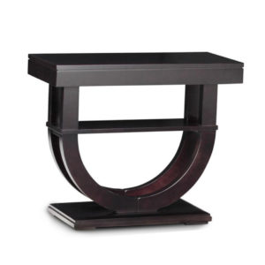 modern solid wood contempo pedestal sofa table