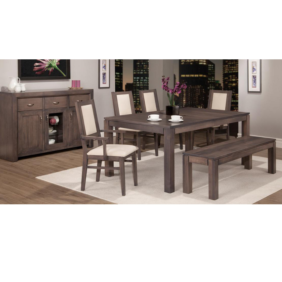 solid wood contempo dining room with harvest table