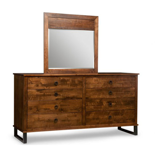 solid distressed wood canadian made cumberland dresser with wood frame mirror