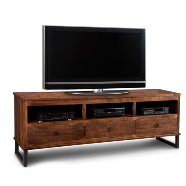 rustic metal legs on cumberland solid wood tv console