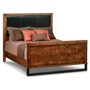 Bedroom, Beds, cherry, contemporary, custom cabinet, distressed, made in canada, made to order, maple, master bedroom, modern, oak, solid wood, upholstered, footboard height, Upholstery Insert in Headboard, handstone, modern, rustic, straight lines, modern, amish style furniture, contemporary, handmade, rustic, distressed, Cumberland Bed with Upholstered Headboard, Cumberland