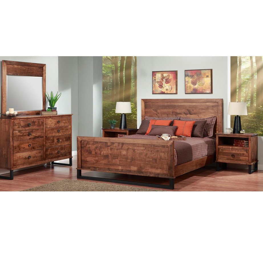 solid rustic wood cumberland bedroom with metal legs