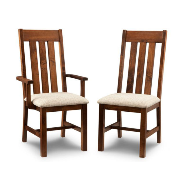 solid rustic wood cumberland dining chair with slat back design
