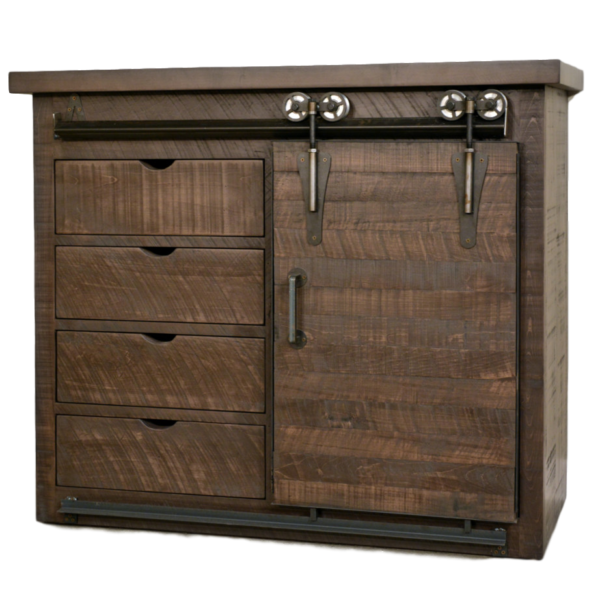Dalton Small Barn Door Sideboard, Dining Room, Cabinets, Storage Cabinets, barn doors, contemporary, custom cabinet, distressed, drawers, industrial, made in canada, maple, modern, ruff sawn, rustic, sliding doors, solid wood, distressed, simple, customizable, Solid Rustic Maple, craftsman furniture, amish style furniture, contemporary, handmade, rustic, distressed, simple, customizable, Solid Rustic Maple, Dalton Sideboard, Dalton Sideboard - Small