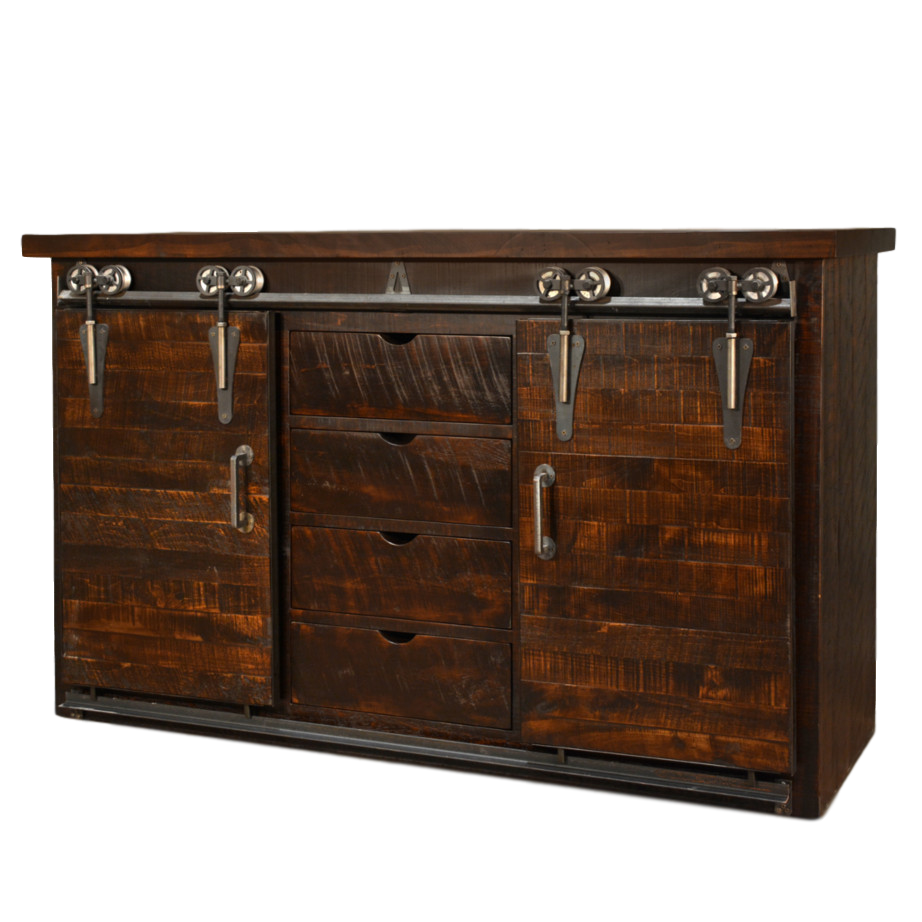Dalton barn door sideboard home envy furnishings solid for Dining cabinet furniture
