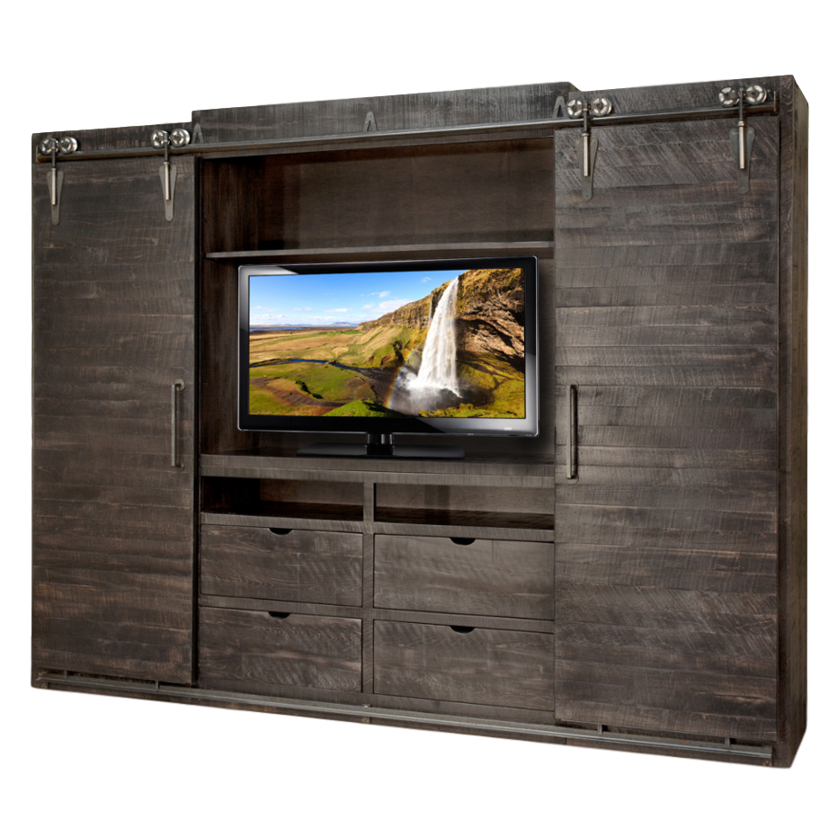 Entertainment, Wall Units, Barn Doors, Contemporary, Custom Cabinet,  Distressed, Drawers