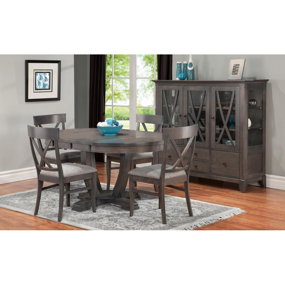 traditional solid wood flornece dining room with round table