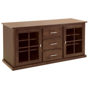 modern solid wood gastown french tv console with glass doors
