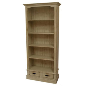 Genevieve Bookcase, furniture, pine, storage ideas, storage, solid wood, made in Canada, Canadian made, rustic, rustic look, shelves, paint, dining room, display, shelf, stain, bookcase, bookshelf, library, home library, drawer, drawers