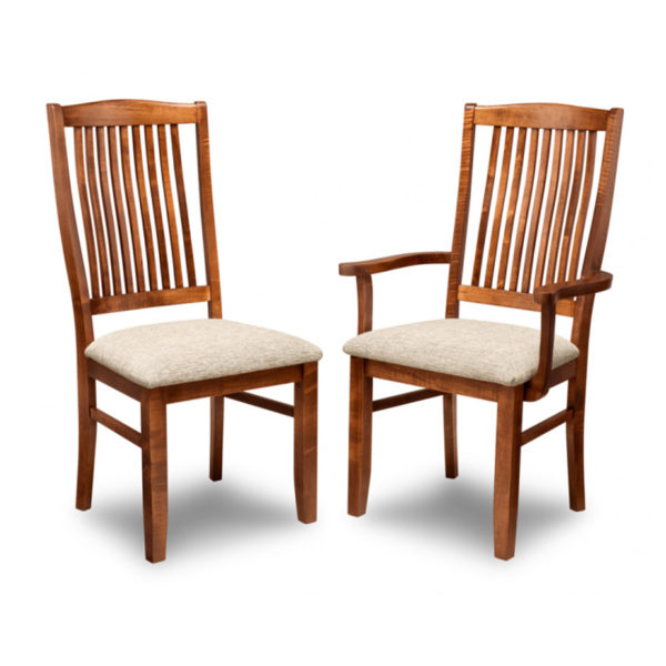 solid wood traditional slat back glen garry dining chair with arm chair option
