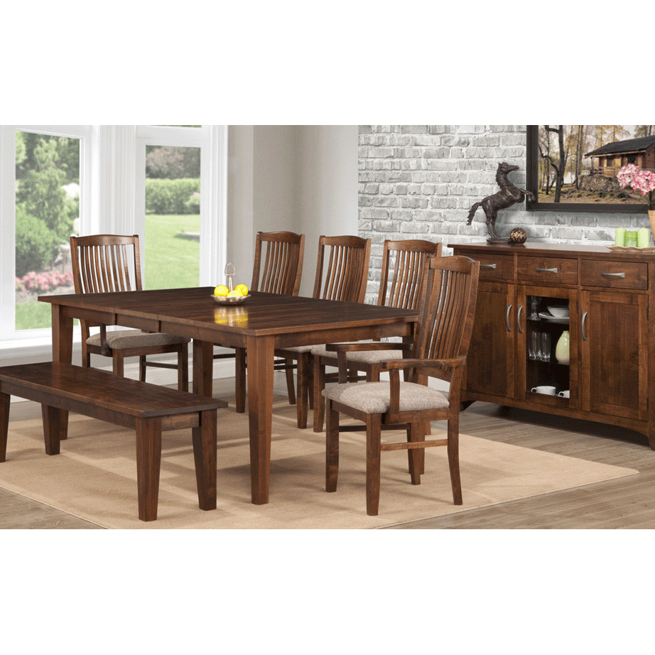 amsih made glen garry dining room set with fabric seat chairs