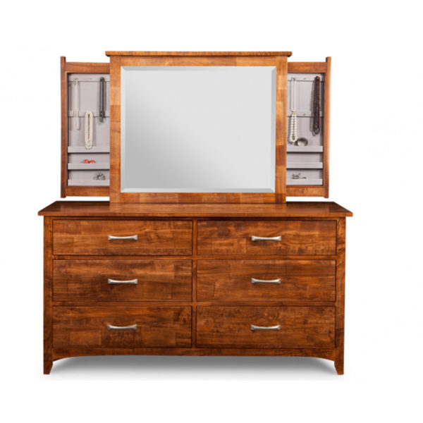 hand crafted in canada solid wood glen garry dresser shown with custom jewellery cabinet mirror